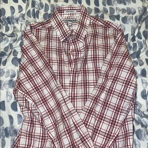 Express Red and White Stripped Dress Shirt